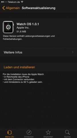 WatchOS 1.0.1 (Bild: Apple)