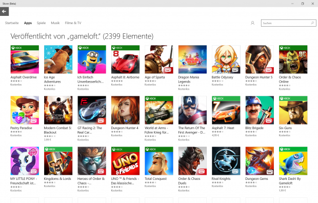 Die meisten Spiele von Gameloft sind kostenlos. (Screenshot: Golem.de)
