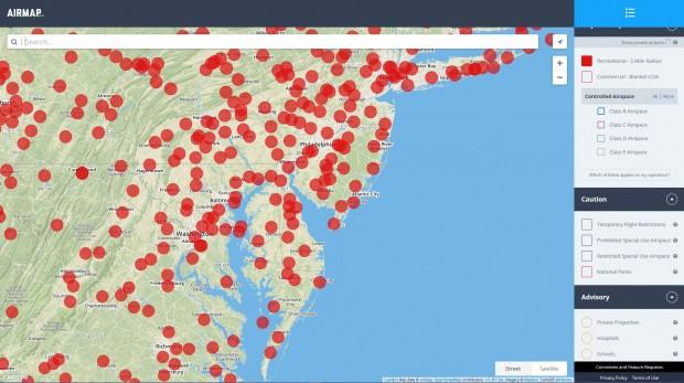 8 Kilometer um Flughäfen dürfen keine Drohnen starten. Airmap zeigt die Verbotszonen in Rot. (Airmap/Screenshot: Golem.de
