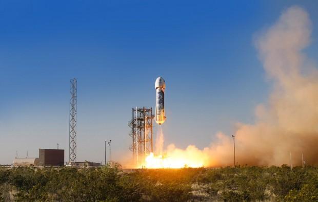 New Shepard startet Ende April 2015 in Texas zu einem Testflug. (Foto: Blue Origin)