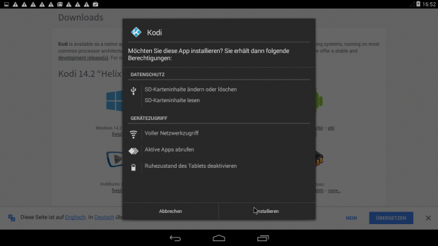 Unter Android lässt sich Kodi über eine APK installieren. (Screenshot: Golem.de)