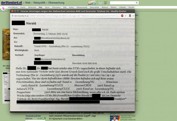 Eine interne E-Mail von der Telekom an den BND belegt, dass der deutsche Geheimdienst den Datenverkehr zwischen Österreich und Luxemburg abgeschöpft wurde. (Bild: Der Standard/Screenshot: Golem.de)