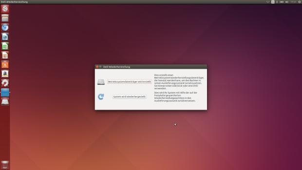 Nach dem ersten Start des Precision M3800 meldet sich der Dell-Wiederherstellungsassistent. Zudem hat Dell das Ubuntu-System leicht angepasst. (Screenshot: Tim Schürmann)
