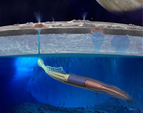 Konzept eines Roboters, der einem Aal ähnelt. Er könnte in Zukunft den Ozean unter dem Eis des Jupiter-Mondes Europa erkunden (Bild: Nasa/Cornell University/NSF)