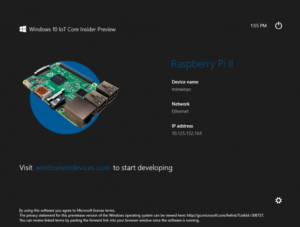 Übersichtsbildschirm von Windows 10 IoT auf dem Raspberry Pi 2 (Abbildung: Microsoft)