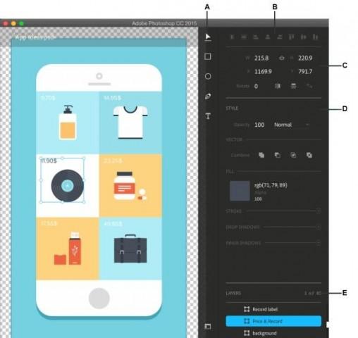 Design-Bereich in Photoshop CC 2015 (Bild: Adobe)
