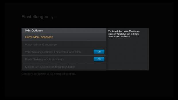 FTV Skin für Kodi: Hier lässt sich das Skin konfigurieren - seit der finalen Version auch in deutscher Sprache. (Screenshot: Golem.de)