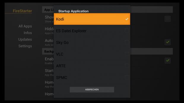 Fire Starter kann eine beliebige App beim Starten des Fire-TV-Geräts starten. (Screenshot: Golem.de)