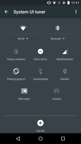 Der SystemUI-Tuner in Android M ermöglicht das Konfigurieren der Schnelleinstellungen. (Screenshot: Golem.de)