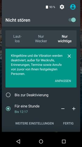 Neben einem Nur-Wecker-Modus ist auch der Nicht-stören-Modus über die Schnelleinstellungen in Android M erreichbar. (Screenshot: Golem.de)