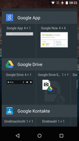 Veränderte Widgets-Übersicht in Android M (Screenshot: Golem.de)