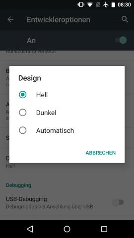 In den Entwickleroptionen von Android M kann die Farbe des Einstellungsmenüs verändert werden. (Screenshot: Golem.de)