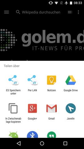 Neues Teilen-Menü in Android M zeigt mehr Apps an. (Screenshot: Golem.de)