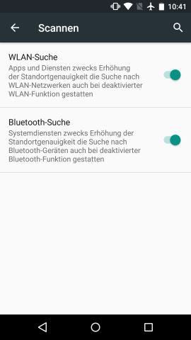 Bluetooth-Scanning für bessere Standortbestimmung in Android M (Screenshot: Golem.de)