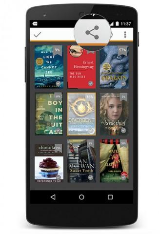 Über die neue Kindle-App für Android können jetzt auch Leseproben aktuell gelesener Bücher verschickt werden. (Bild: Amazon)