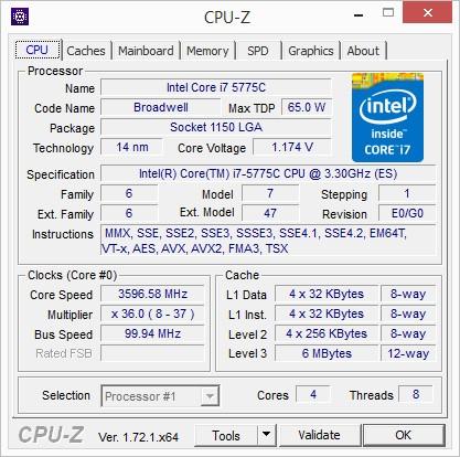 Core i7-5775C (Screenshot: Golem.de)