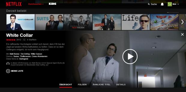 Die Detail-Seite zu einem Eintrag schiebt sich in die Netflix-Hauptoberfläche. (Screenshot: Golem.de)