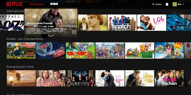 Wird der Mauspfeil über einen Netflix-Eintrag gehalten, vergrößert sich dieser. (Screenshot: Golem.de)