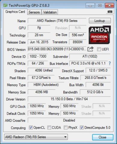 Technische Daten der Radeon R9 Fury X (Foto: Techpowerup)