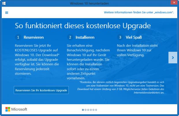 Hinweis zur Registrierung auf das kostenlose Upgrade auf Windows 10 (Microsoft/Screenshot: Golem.de)