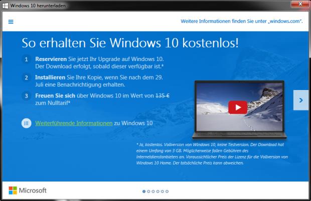 Überarbeiteter Hinweis auf kostenloses Upgrade auf Windows 10 (Screenshot: Golem.de)