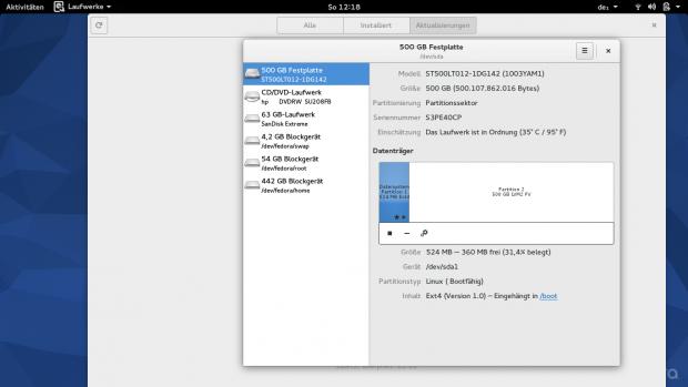 Fedora richtet standardmäßig eine LVM-Partition mit Btrfs ein. (Screenshot: Ferdinand Thommes)