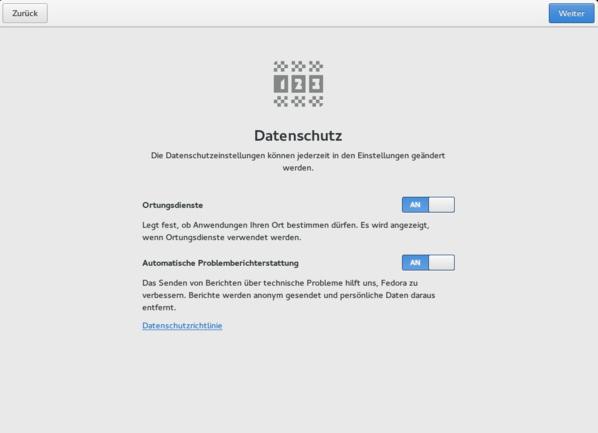 Bei der Einrichtung werden Optionen zum Datenschutz abgefragt. (Screenshot: Ferdinand Thommes)