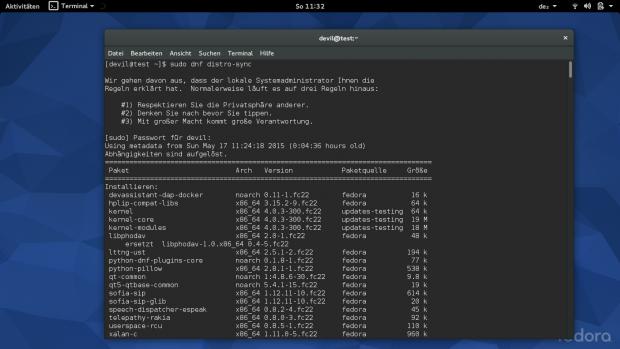 Die Software wird jetzt mit DNF statt Yum verwaltet. (Screenshot: Ferdinand Thommes)