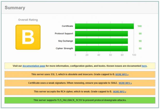 Test der Sicherheitszertifikate von Google.de mit dem SSL Report von Qualys SSL Labs (Bild: Hauke Gierow)