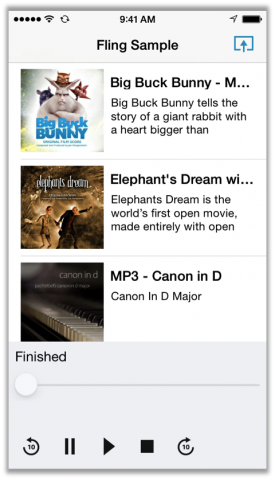 Fling-taugliche App auf einem iPhone - das Fling-Icon rechts oben zeigt die Verbindung zu einem Fire-TV-Gerät. (Bild: Amazon)