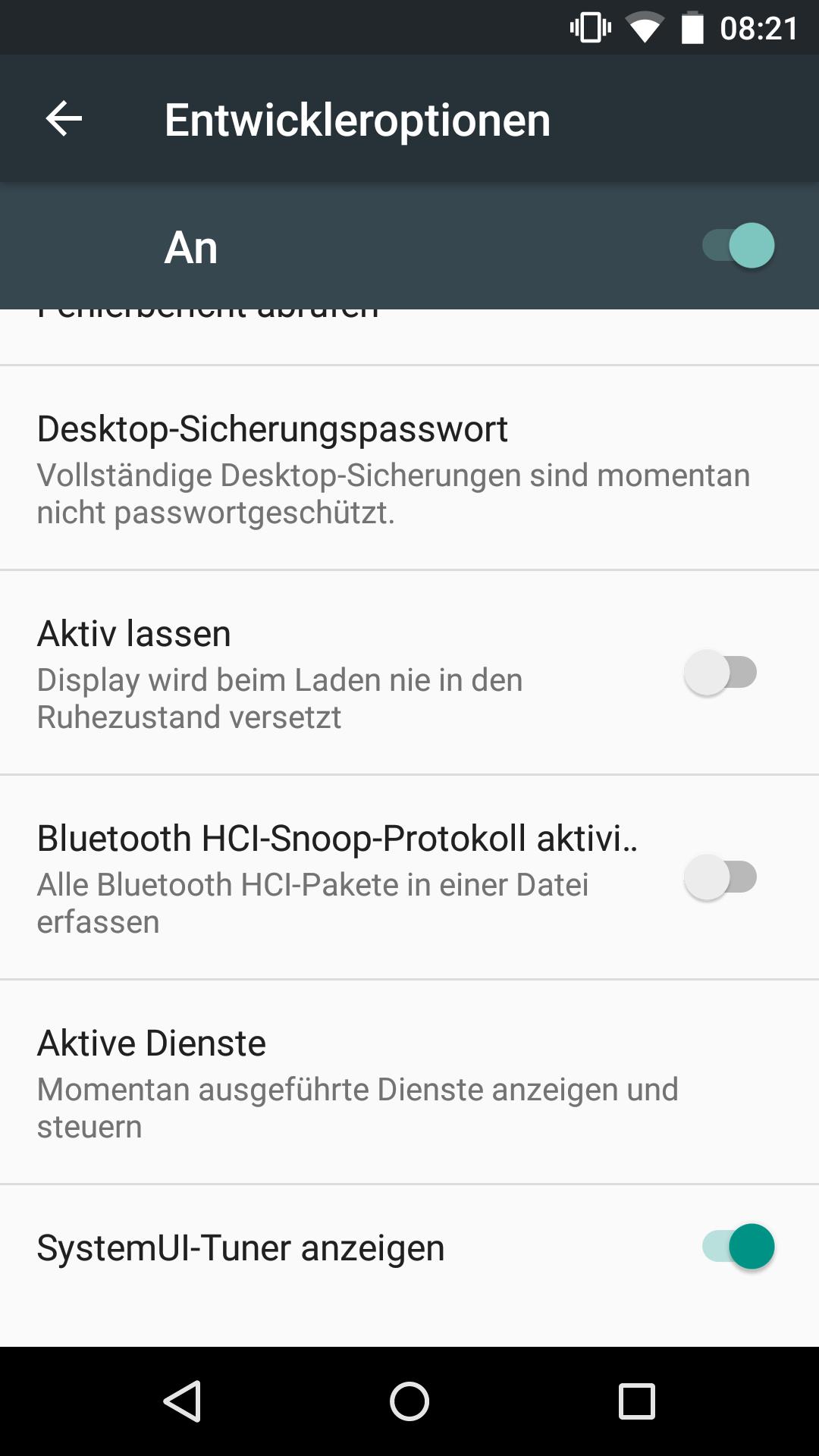 Android 6.0: Doch kein Marshmallow für erstes Nexus 7 - Der SystemUI-Tuner muss erst in den Entwickleroptionen aktiviert werden. (Screenshot: Golem.de)