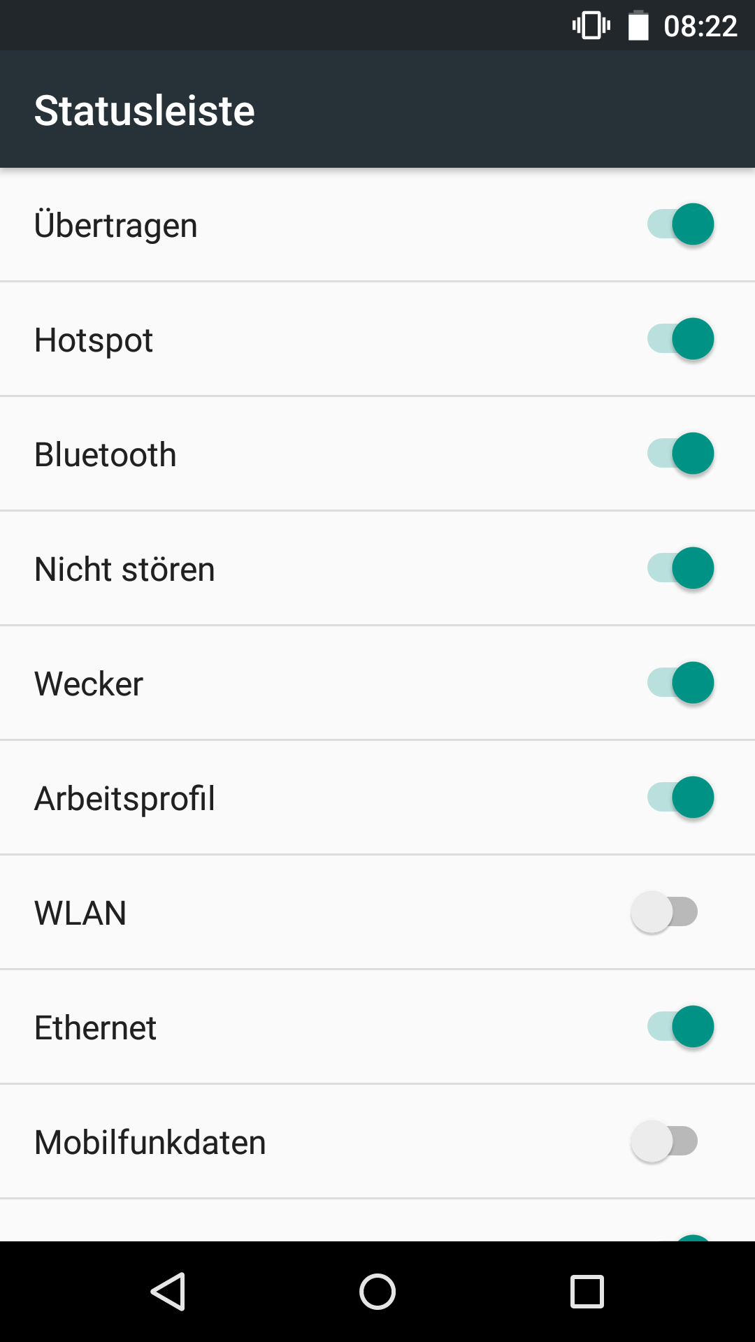 Android 6.0: Doch kein Marshmallow für erstes Nexus 7 - Im SystemUI-Tuner der Preview 2 kann die Statusleiste angepasst werden. (Screenshot: Golem.de)