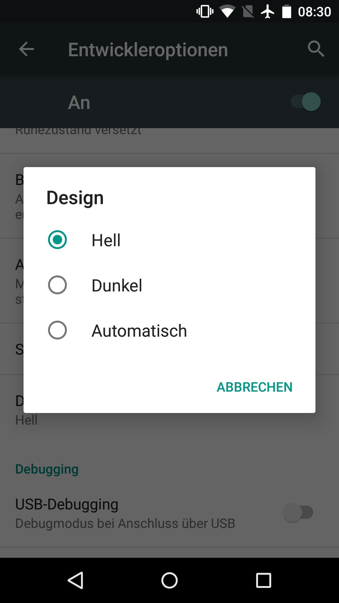 Android 6.0: Doch kein Marshmallow für erstes Nexus 7 - So sah die Themes-Einstellung in der ersten Preview von Android M aus. (Screenshot: Golem.de)
