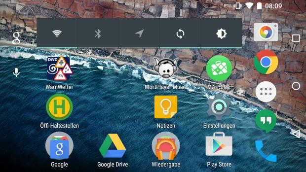 Seit der Preview 2 unterstützt der Android-M-Startbildschirm auch das Querformat. (Screenshot: Golem.de)