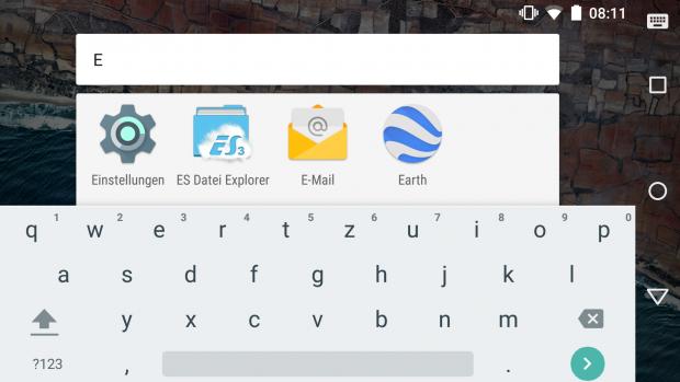 Das Suchfeld in der App-Übersicht ist jetzt direkt erreichbar. (Screenshot: Golem.de)