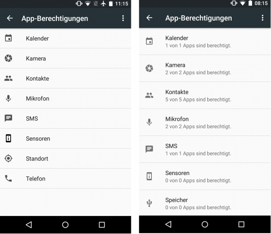 Links: Die Übersicht aller Berechtigungen in der Preview 1. Rechts: In der Preview 2 sieht der Nutzer, wie viele Apps eine Berechtigung anfordern. (Screenshot: Golem.de)