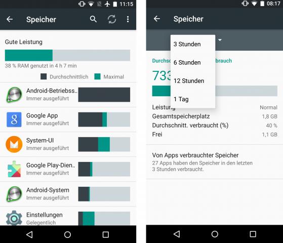 Links: Das Speicher-Menü in der Preview 1. Rechts: Das neue Speicher-Menü in der Preview 2. (Screenshot: Golem.de)
