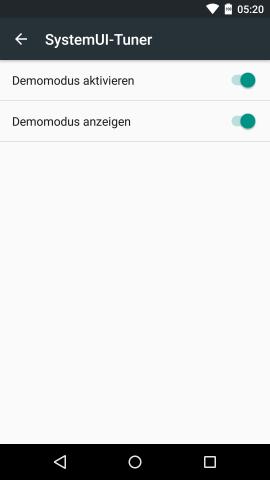 Bei aktiviertem Demo-Modus wird die Statusleiste mit Standardwerten besetzt, unter anderem zeigt die Uhr immer 17:20. (Screenshot: Golem.de)