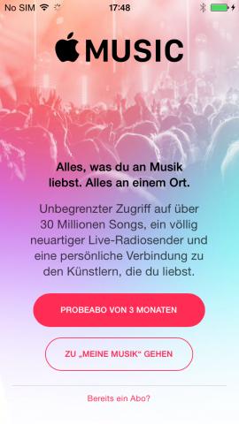 Zum Start kann der Nutzer Apple Music drei Monate lang kostenlos ausprobieren. (Screenshot: Golem.de)