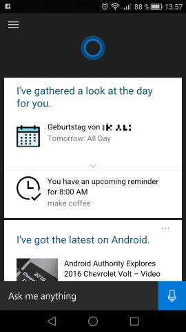 Der Startbildschirm von Cortana für Android (Screenshot: Golem.de)