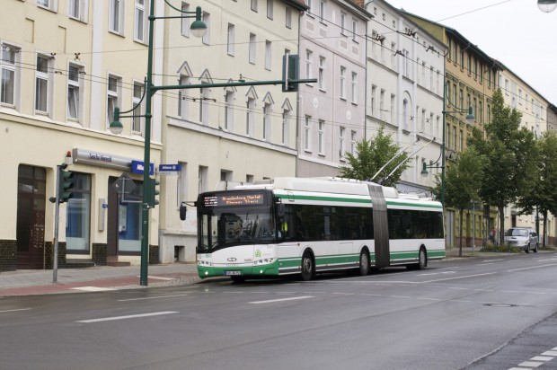 Nicht weit von Berlin wird in Eberswalde eines der letzten deutschen Oberleitungsbussysteme betrieben. (Foto: Andreas Sebayang/Golem.de)