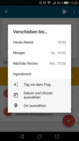 Google Inbox erkennt jetzt Daten und Uhrzeiten in E-Mails und bietet selbst einen Termin für das Wiederauftauchen der Nachricht an. (Screenshot: Golem.de)