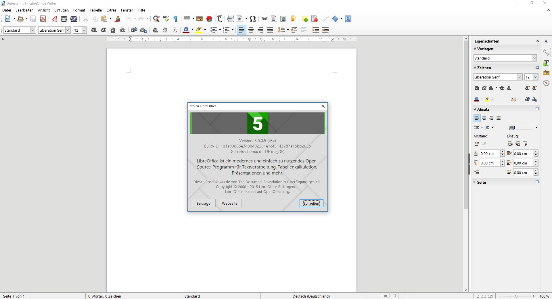 Freies Büropaket: Libreoffice springt auf Version 5.0 -