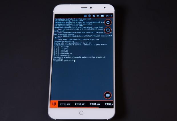 Das Terminal auf dem MX4 mit Ubuntu Phone (Bild: Martin Wolf/Golem.de)