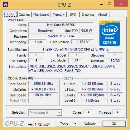 Daten des Core i5-5675C in CPU-Z (Screenshot: Golem.de)