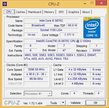 Daten des Core i5-5675C in CPU-Z (Screenshot: Golem.de)