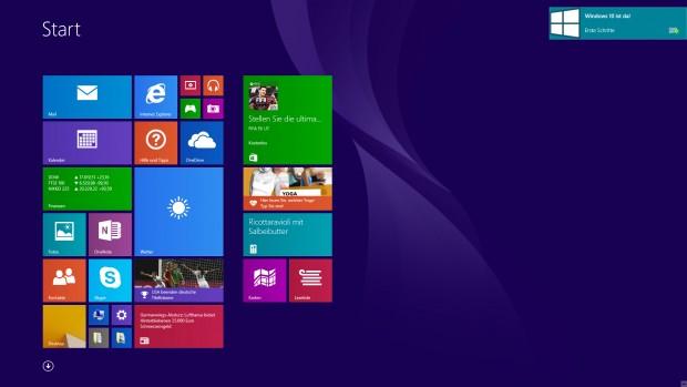Das Upgrade auf Windows 10 meldet sich bereits (Screenshot: Golem.de)