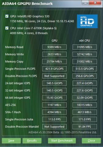 Double Precision beherrscht die Skylake-iGPU nicht. (Screenshot: Golem.de)