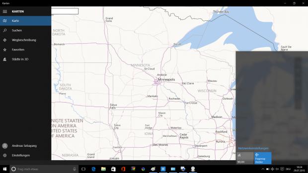 Die neue Karten-App hat einen praktischen Offlinemodus. Selbst grobe Details anderer Kontinente sind offline verfügbar. (Screenshot: Golem.de)