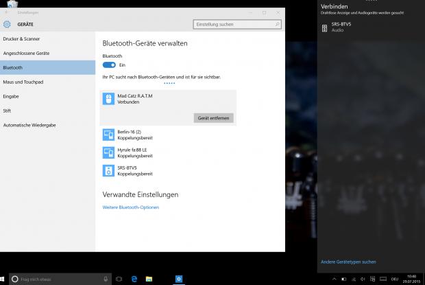 Mit Bluetooth LE wird es kompliziert. Unsere LE-Maus und ein Microsoft Band sind nur links zu sehen, während klassische Bluetooth-Geräte auch im Info-Center erscheinen. (Screenshot: Golem.de)